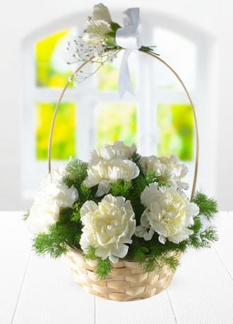 çerkezköy çiçek siparişi Sepette Beyaz Karanfil