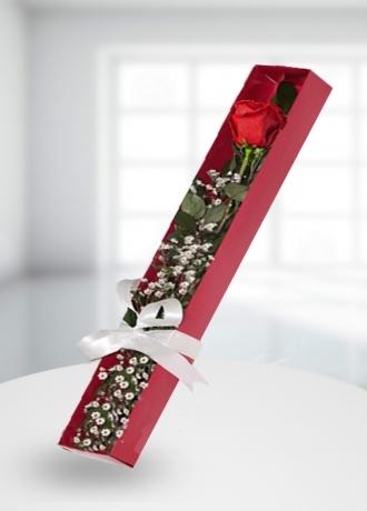 çerkezköy çiçek siparişi Kutu Tek Gül