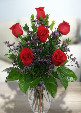 çerkezköy çiçek siparişi Göbekli Camda 6 Gül